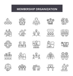 Membership organization line icons signs vector