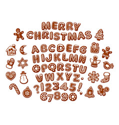 Merry christmas text made chocolate biscuits vector
