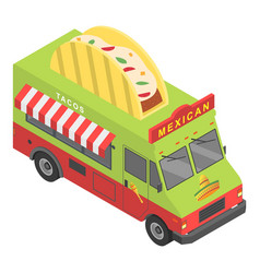 mexican food truck icon isometric style vector image
