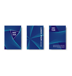minimal geometric poster set blue and neon cover vector image