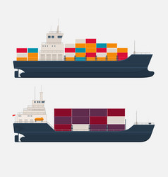 Modern cargo ships on white background vector