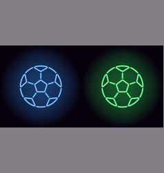 neon football ball in blue and green color vector image