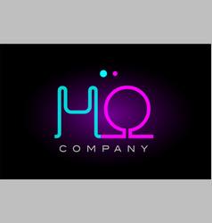 Neon lights alphabet ho h o letter logo icon vector
