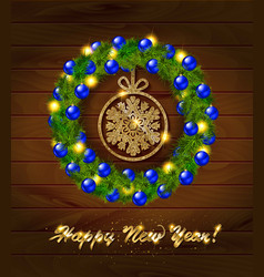new year wreath with baubles and christmas tree vector image