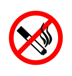 no smoking red forbidden sign simple black vector image