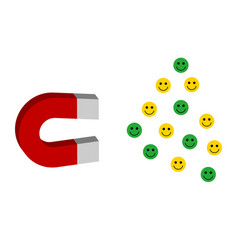 Operating magnet attracting clients emoticons vector