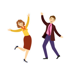 People man and woman dancing at corporate party vector