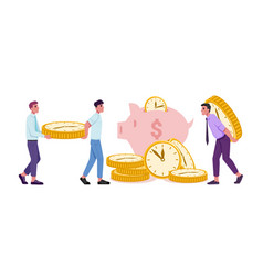 people saving money and time financial income vector image
