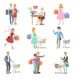 People Shopping For Clothes And Grocery vector