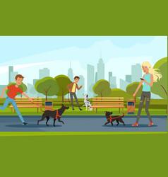 People walking with dogs in urban park vector