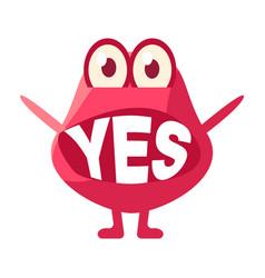 Pink blob saying yes cute emoji character vector