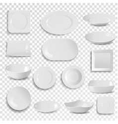 Plate and bowl empty white clean dinner vector
