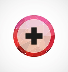 plus circle pink triangle background icon vector image