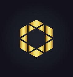 Polygon triangle gold logo vector