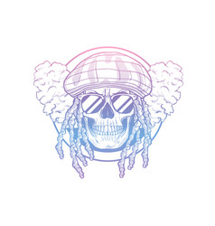 rastafarian isolated skull with dreadlocks vector image