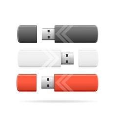 realistic detailed 3d color usb flash drive set vector image