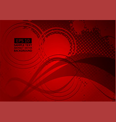 Red wave abstract background with copy space vector