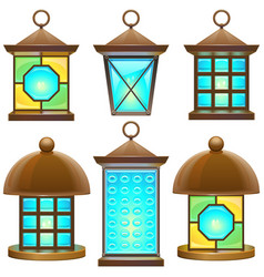 retro lamp set 2 vector image