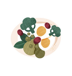 salad with boiled eggs broccoli peas olives and vector image