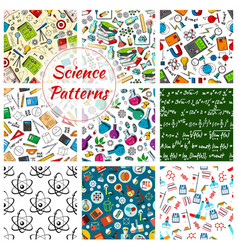 Science seamless patterns set vector