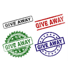 Scratched textured give away stamp seals vector