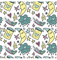 seamless pattern moon stars and hearts vector image