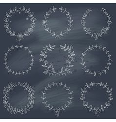set 9 hand drawn wreaths on blackboard vector image