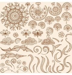 Set Henna mehndi doodle design elements vector