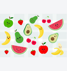 Set kawaii sticker or patch with fruits food vector