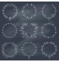 Set of 9 hand drawn wreaths on blackboard vector