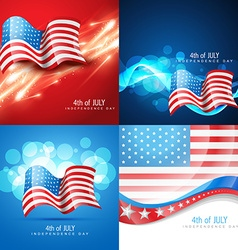 set of american flag in different creative style vector image