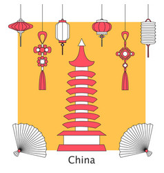 set of chinese and asia symbol vector image