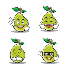 Set of pear character cartoon style vector