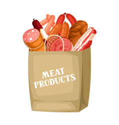 Shopping bag with meat products of vector
