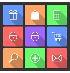 Shopping Icons set with Long Shadow vector image
