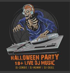 skull zombie dj music halloween party vector image
