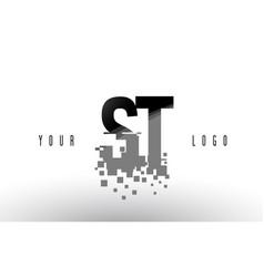 st s t pixel letter logo with digital shattered vector image