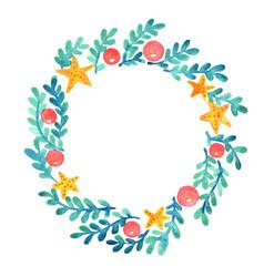 Starfish christmas ball and seaweed wreath vector