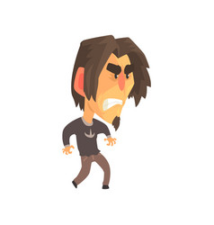 Stressed young angry man with aggressive facial vector