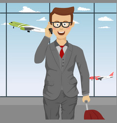 successful businessman with suitcase at airport vector image