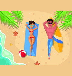 summer concept - couple on the beach top view man vector image