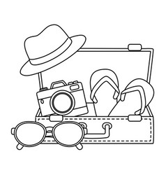 Summer time and travel cartoon in black and white vector
