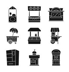 Tent and urban icon set of vector