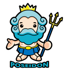 The sea and the water god poseidon character vector