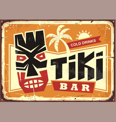 tiki bar vintage tin sign with hawaiian tiki mask vector image