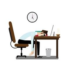Tired office man sleeping at desk vector