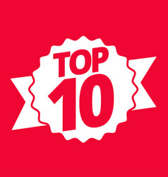 Top 10 best ten list red word on ribbon winner vector