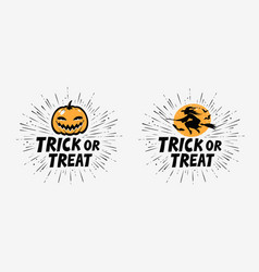 trick or treat greeting card halloween vector image