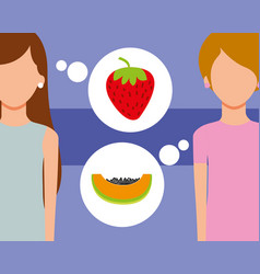 Two woman talking of fruits fresh strawberry vector
