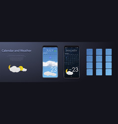 ui elements weather and calendar user interface vector image